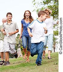 parque, perseguir, familia joven, niño