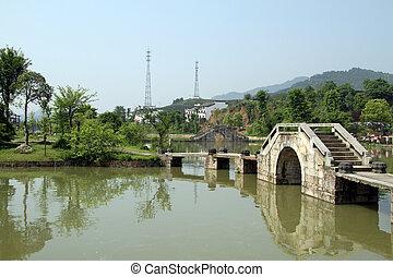 parque, ponte