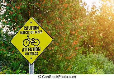 parque, precaución, bicicleta, señal