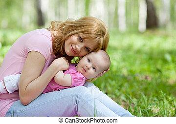 parque, primavera, vidoeiro, filha, mãe