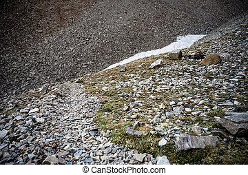 parque, rocoso, vientos, palangana, arriba, glaciar, nacional, roca, grande, rastro, hacia