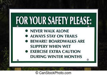 parque, seguridad, señal