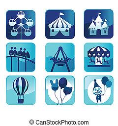 parque tema, ícones