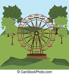 parque tema, desenho