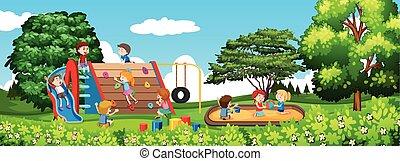 parque, tocando, childre