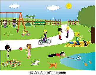 parque, tocando, crianças