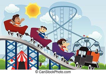 parque, tocando, divertimento, crianças