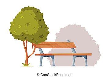 parque, vector, árbol, cityscape, ilustración, vista, banco