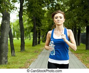 parque, verão, mulher, corrida, jovem