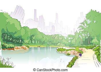 parque verde, en, centro de la ciudad, charca, árboles, y,...