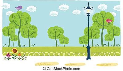 parque, vista