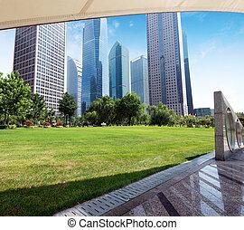 parques, y, arquitectura moderna