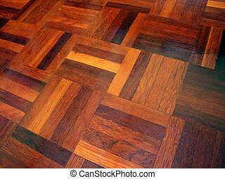 Parquet Abstract - Angled view of parquet flooring.
