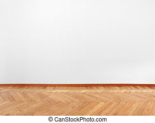 Parquet and empty white wall