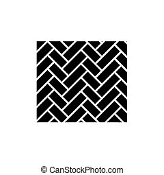 Parquet black icon, vector sign on isolated background. Parquet concept symbol, illustration