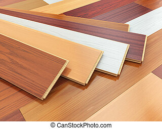 Parquet o laminate wooden planks of the different colors on...