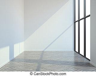 parquet, sala, vazio, chão