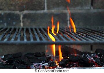 parrilla, b, barra, fuego, carbón, señal, hierro, barbacoa, ...
