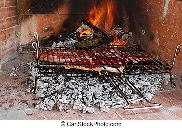 parrilla, carne