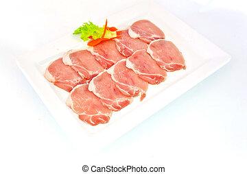 parrilla, cerdo, slided, frescura, plato, blanco
