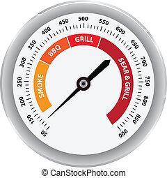 parrilla, clásico, termómetro