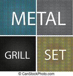 parrilla, conjunto, cromo, metal, aislado, textura