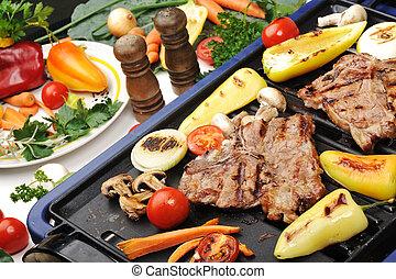 parrilla, diferente, carne, carne de vaca, vegetales, ...