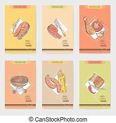 parrilla, drink., vegetables., alimento, menú, carne, ilustración, mano, tarjetas, vector, barbacoa, folleto, dibujado, filete