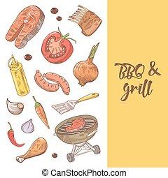 parrilla, embutido, picnic, vegetables., carne, ilustración, mano, vector, plano de fondo, barbacoa, dibujado, fiesta.