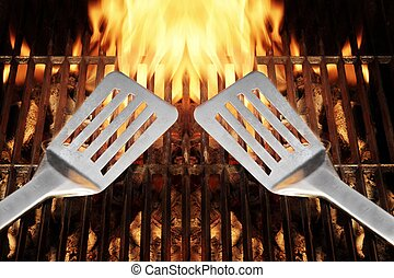 parrilla, espátula, llamas, fuego, herramienta, xxxl,...