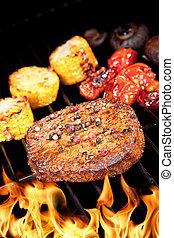 parrilla, filete, delicioso, carne de vaca