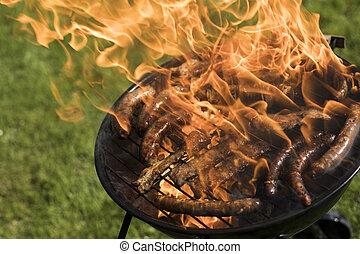 parrilla, fuego, caliente, briquetas, plano de fondo, rojo