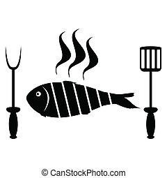 parrilla, pez, asado, barbacoa