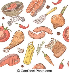 parrilla, picnic, vegetables., carne, pattern., seamless, ilustración, mano, filete, vector, plano de fondo, dibujado, fiesta, pez, barbacoa