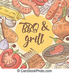 parrilla, picnic, vegetables., pez, ilustración, mano, filete, vector, plano de fondo, barbacoa, dibujado, fiesta.