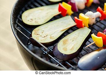 parrilla, vegetales, hongos, asado, brasero