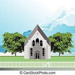 parroquia, rural, edificio, iglesia