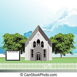 parroquia, tabla, aviso, iglesia