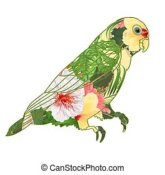 Parrot Agapornis lovebird floral pattern hibiscus vector.eps...