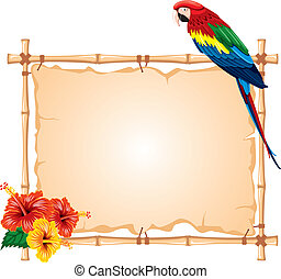 Parrot and bamboo frame - Bright parrots sitting on a bamboo...