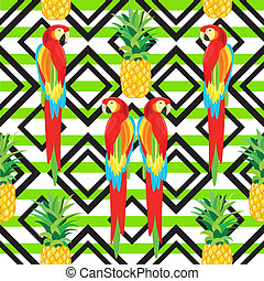Parrot and Pineapple Seamless Pattern. Black Ornament. Tropical Summer Illustration for wallpaper, background, wrapper or textile