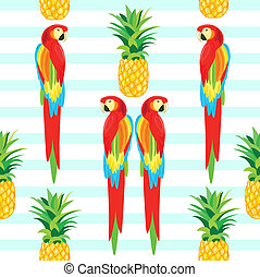 Parrot and Pineapple Seamless Pattern. Tropical Summer Illustration for wallpaper, background, wrapper or textile