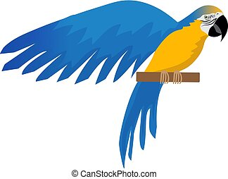 Parrot Ara ararauna flat icon, cartoon style. Blue-and-yellow macaw character. Colored bird flies. Isolated on white background. Vector illustration.