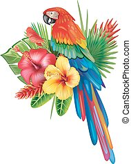 Parrot Ara with tropical flowers