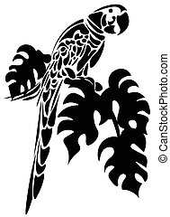 Parrot bird isolated on white. Vector sketch black color