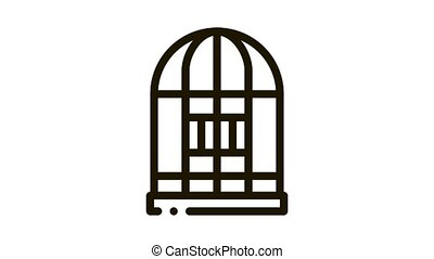Parrot Cage Icon Animation. black Parrot Cage animated icon on white background