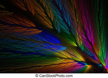Parrot Colored Feather Fractal - Multi-colored feather...