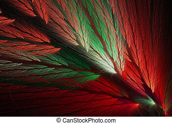 Parrot Feather Fractal in Christmas - Red and green...