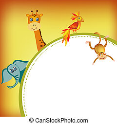 parrot, giraffe, elephant and monkey frame illustration