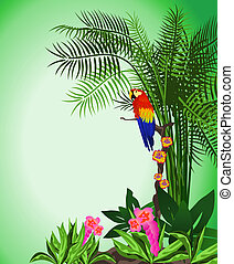 Parrot - Green background illustration of tropical forest...